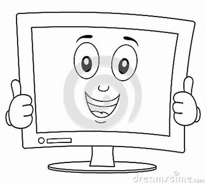 Coloring Screen Desktop Happy Cartoon Monitor Computer