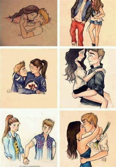 justin bieber  selena cartoon drawing love