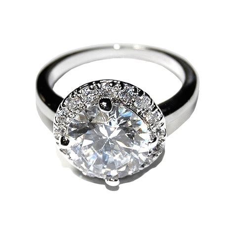 new 3ctw pave round halo cubic zirconia band ring high