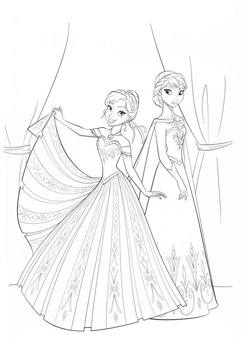 elsa  anna coloring pages    print