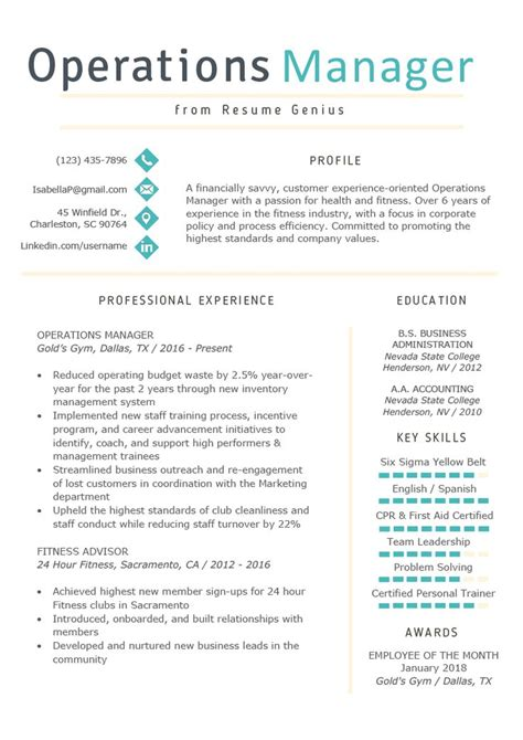 Manager Skills Resume by Operations Manager Resume Exle Writing Tips Rg
