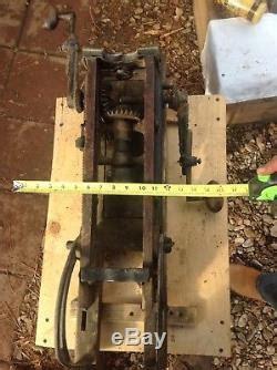 antique ajax barn beam auger hand drill press boring