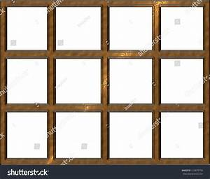 Isolated Wooden Window Frame With Open Squares Stock Photo ...