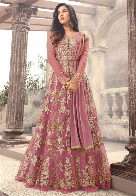 embroidered net abaya style suit  pink kch