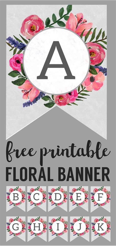 floral alphabet banner letters  printable printable