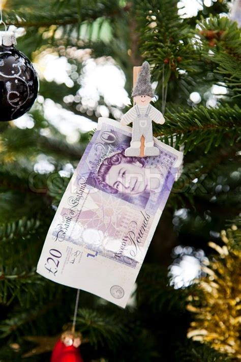 christmas tree  hanging money british pound