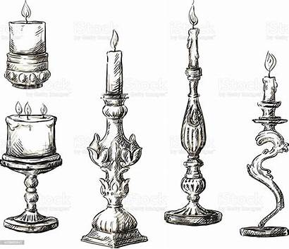 Candles Drawn Hand Candle Retro Drawing Vector
