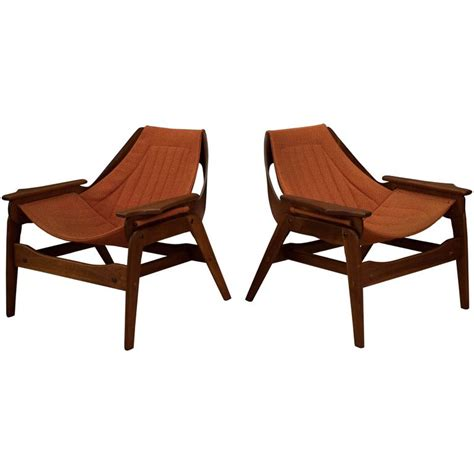 mid century jerry johnson walnut sling chairs for sale at