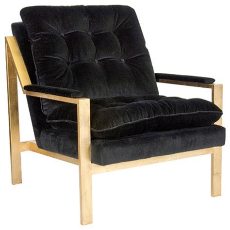 cameron gold leaf black velvet chair contemporary
