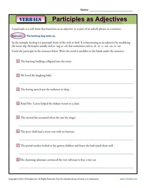 participles as adjectives verbal worksheets