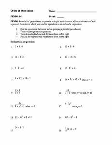 Order Of Operations Worksheet For 9th