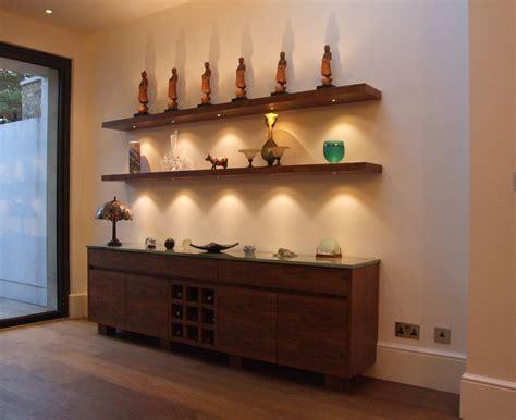 walnut floating shelves  led lights