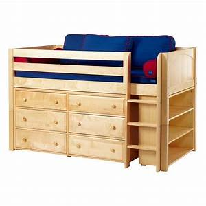 Box low loft bed with dressers and bookcase for Low loft bed