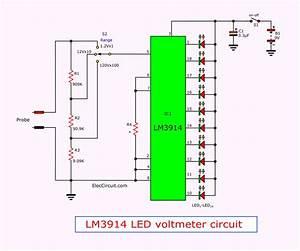 Simple Led Voltmeter Circuit Using Lm3914