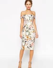 asos asos wedding bardot floral shoulder pencil dress at asos - Pencil Wedding Dresses