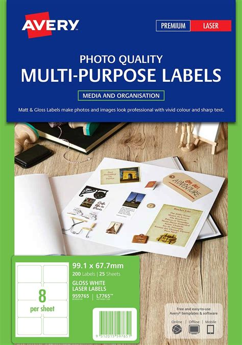 label avery laser    mm glossy   sheet