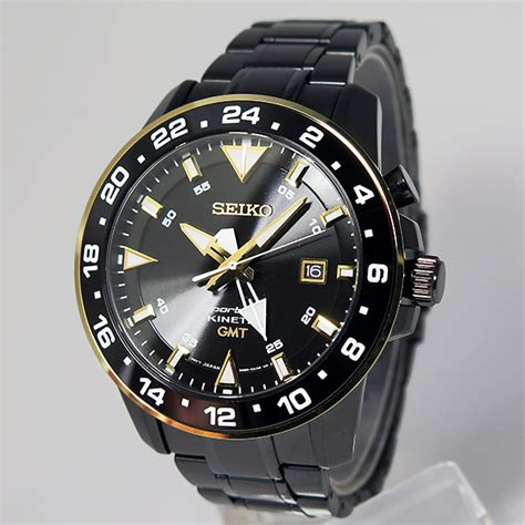 Jam Seiko Kinetic Blue Gold jual seiko sportura sun026p1 kinetic gmt 100m black gold