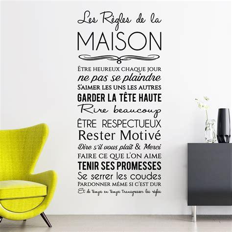 stickers regles de la maison sticker les r 232 gles de la maison design stickers citations fran 231 ais ambiance sticker