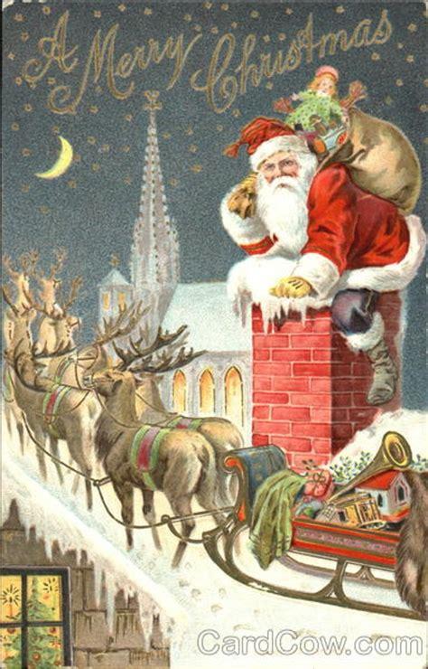 santa reindeer  sleigh  rooftop santa claus