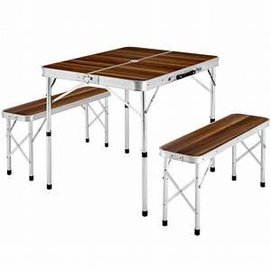 Table Pliante De Camping : table de camping pliante valise avec 2 bancs en aluminium en marron tectake ~ Melissatoandfro.com Idées de Décoration