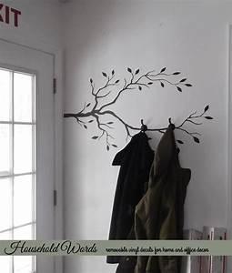 Tree branch decor vinyl wall decal diy coat rack