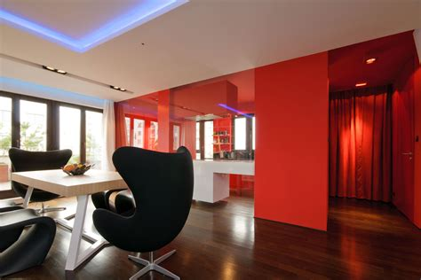 Black And Red Living Room Ideas by City Center Apartment Designed By Hola Design Located In