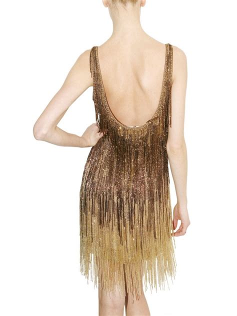 roberto cavalli embellished fringed dress  metallic lyst