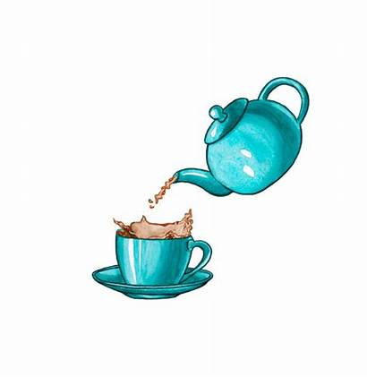 Tea Pouring Illustrations Cup Pot Clip Illustration