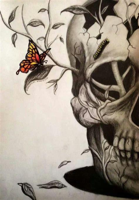 Half Skull With Catterpillar Brow Butterfly Skulls