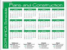 AHCA Plans and Construction 2018 Schedule Calendar