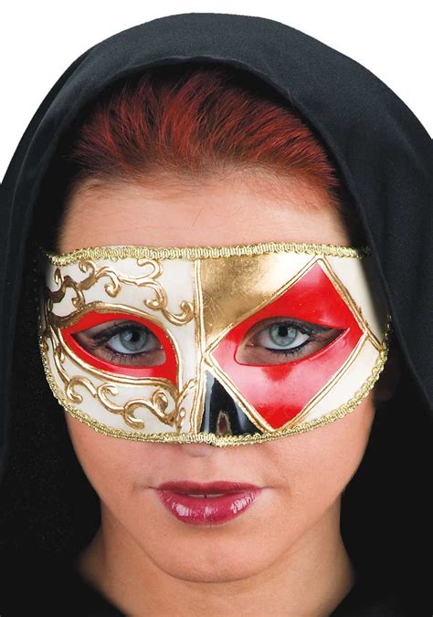 venezianische maske harlekin motiv gold weiss rot