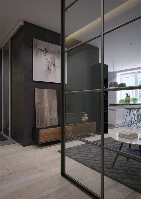 interior glass walls for homes two sleek apartments with interior glass walls