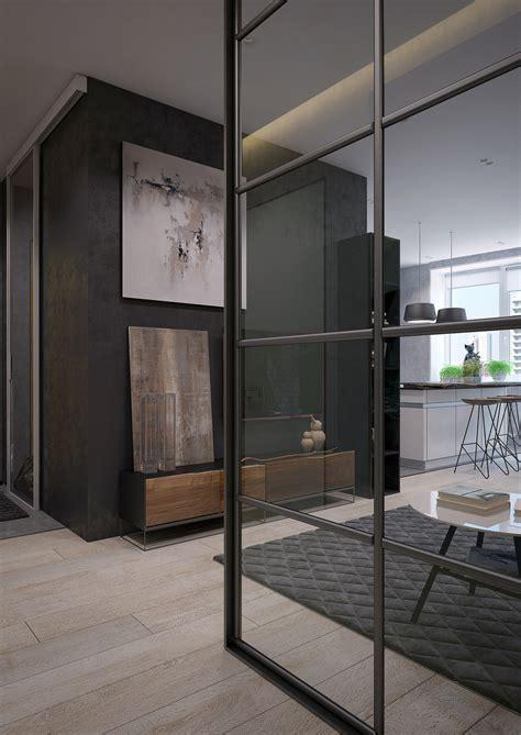 sleek apartments  interior glass walls