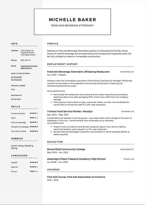 food and beverage attendant sle 28 images traditional