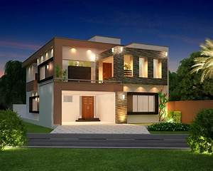 Front, Elevation, Modern, House