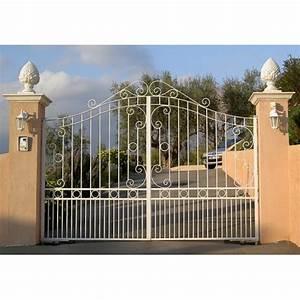 Fixation Portail Battant : portail battant 2 vantaux fer forg ciotat blanc 4m ~ Premium-room.com Idées de Décoration