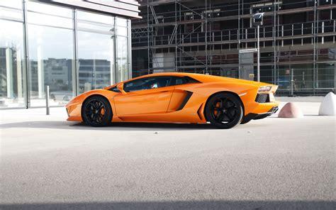 Lamborghini Aventador Lp700-4 Orange Supercar Side View 4k