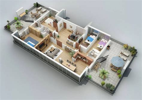 floor design apartment designs shown with rendered 3d floor plans