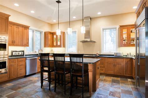 shaker style kitchen  slate floor craftsman