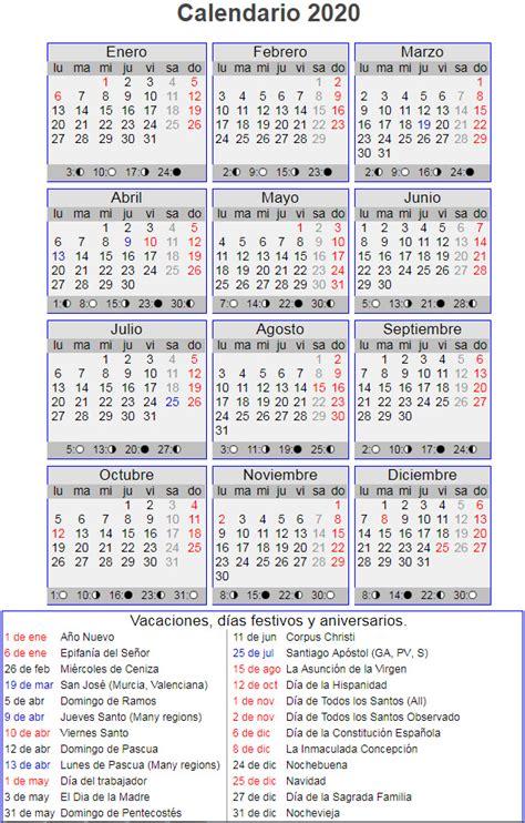 calendario lunar del ano