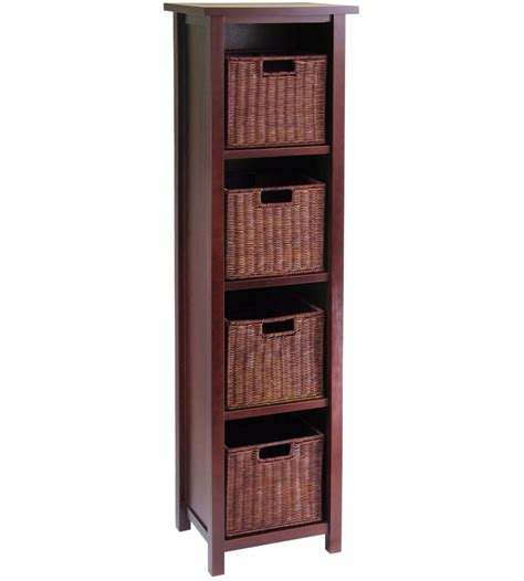 Basket Bookcase by 4 Shelf Bookcase With Baskets In Shelves With Baskets