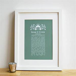 Personalised wedding anniversary vow hymn poem wall art by