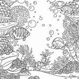 Coloring Algae Underwater Corals Fish Shareasale Salvato Anemones Isolated sketch template