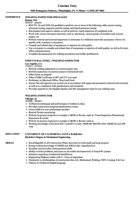Welding Inspector Resume Samples | Velvet Jobs