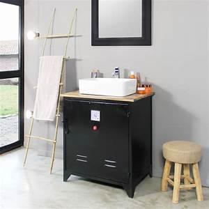 Salle De Bain Style Industriel : meuble salle de bain industriel 1 vasque style casier votl ~ Dailycaller-alerts.com Idées de Décoration