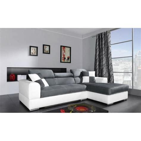 mobilier chambre pas cher canapé d 39 angle 4 places néto madrid gris et blanc pas cher