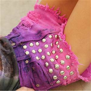 High Waist Ombre Pink Purple Studded Shorts by MiniPinkDenim
