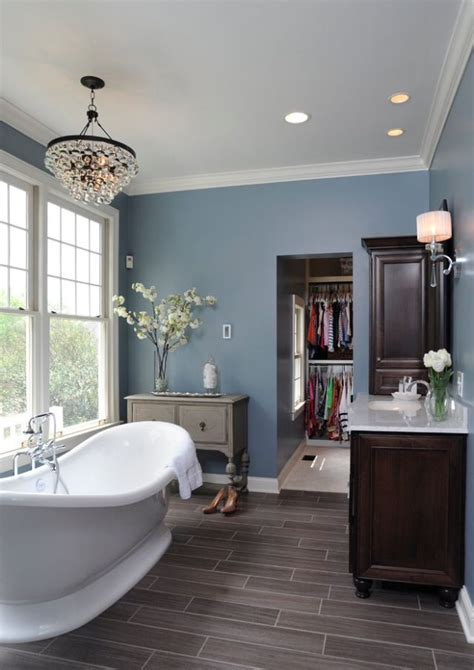 gray and blue bathroom ideas grey wood floors blue walls and white trim basement