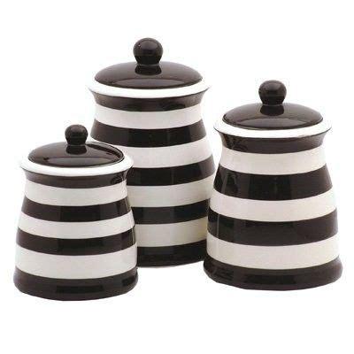 black white striped ceramic kitchen canister set