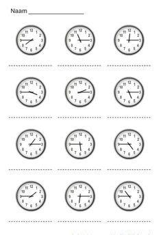 klok leren kijken images clock worksheets